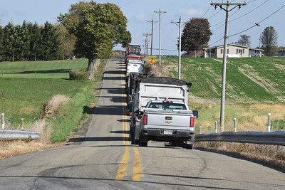 A tree that fell across an electric line closed Route 422 in Summit Township. Traffic was detoured onto Gameland Road, Thursday, October 15, 2020.
