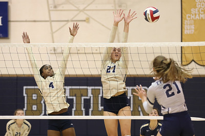 Butler's Justine Forbes (4) and Taylor Welter (27) go up for a block against Shaler's Allison Yarnot Thursday at home. Bulter fell to Shaler in straight sets. Seb Foltz/Butler Eagle