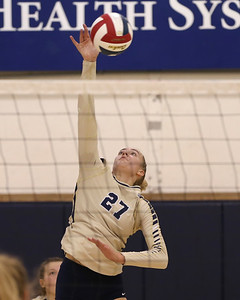 Butler's Taylor Welter goes up for a spike against Shaler Thursday. The Golden Tornado fell to the Titans in 3 sets. Seb Foltz/Butler