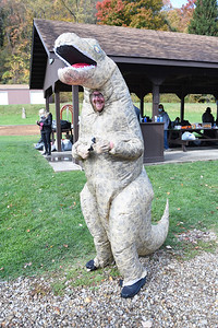 Some volunteers at the Bundle Up Butler event held at Butler Memorial Park on October 16, 2020, like Rich Blews a certified peer specialist at Center for Community Resources dressed up for the event.  Lauryn Halahurich/Butler Eagle