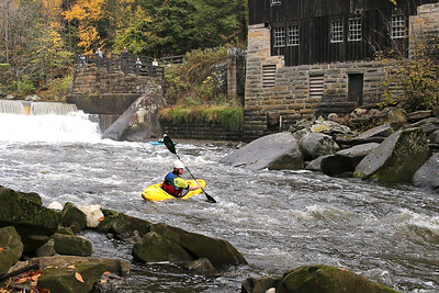 Jesse Macklin turns downstream kayaking through McConnells Mill Wednesday. Seb Foltz/Butler Eagle 10/21/20