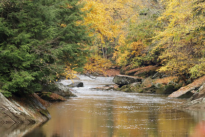 Fall leaves along Slippery Rock Creek above McConnells Mill Wednesday. Leaves are expected to peak in the region this week. Seb Foltz/Butler Eagle 10/21/20