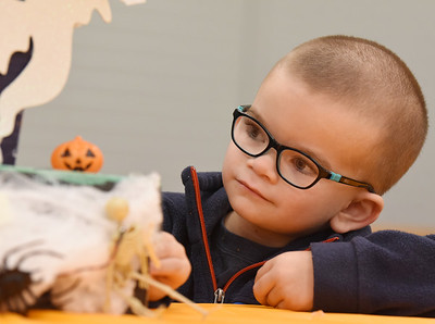 Carson Donaldson, 4, of North Washington plays with his sister, London Donaldson's  robotics haunted house a the Slippery Rock Community Center Monday, October 19, 2020. Harold Aughton/Butler Eagle