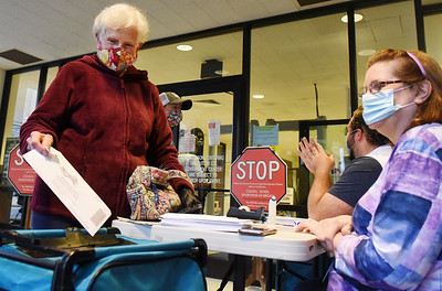 "Rene Pierce of Butler dropped offer her ballot at the ""Ballot Turn-in Station"" in breezeway of the Butler County Courthouse Monday, October 26, 2020. Harold Aughton/Butler Eagle"