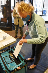 "Ping Pirrung of Middlesex Twp. dropped off her ballot at the ""Ballot Turn-in Station"" in breezeway of the Butler County Court House Monday, October 26, 2020. Harold Aughton/Butler Eagle"