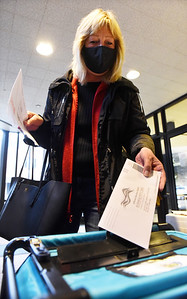 "Lisa Romans of Connoquenessing Twp. dropped offer her ballot at the ""Ballot Turn-in Station"" in breezeway of the Butler County Court House Monday, October 26, 2020. Harold Aughton/Butler Eagle"