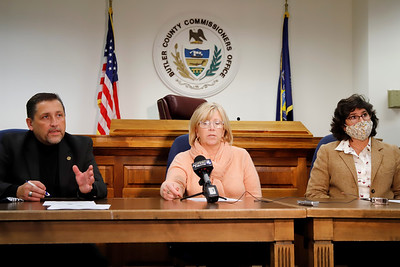 Butler County commissioners Kevin Boozel(left), Leslie Osche and Kim Geyer address media during a press conference Wednesday to address mail-in ballot concerns. Seb Foltz/Butler Eagle 10/29/20