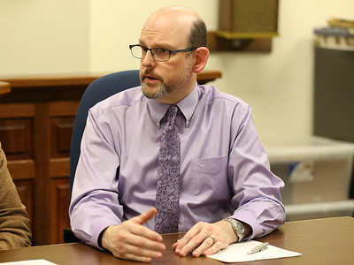 Butler County Elections Bureau director Aaron Sheasley addresses a question during a county commissioners  press conference Wednesday to address concerns over mail-in Ballots. Seb Foltz/Butler Eagle 10/29/20