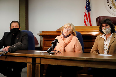 Butler County commissioners Kevin Boozel(left), Leslie Osche and Kim Geyer address media during a press conference Wednesday to address mail-in ballot concerns. Seb Foltz/Butler Eagle