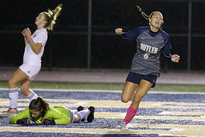 Butler forward Chloe Weiland celebrates after scoring her second goal to close out Upper Saint Clair 4-0 in the Golden Tornado's home playoff win Thursday. 10/29/30 Seb Foltz/Butler Eagle