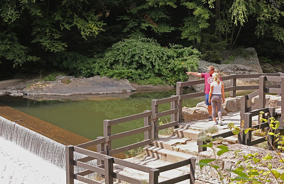 Jason and Kristen Stravinsky look out from the observation area at McConnells Mill dam Tuesday. Seb Foltz/Butler Eagle 08/25/20