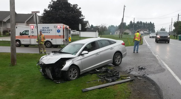 This car was damaged in a two-car accident at the intersection of West Sunbury Road (Route 308) and Holyoke Road in Center Township at 8 a.m. Wednesday. No one was injured.