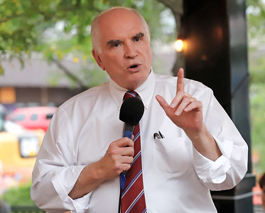 Rep. Mike Kelly shakes speaks at Wednesday's opening of the northern Butler Republican campaign office in Slippery Rock. Kelly was an unannounced special guest. Seb Foltz/Butler Eagle 09/02/20
