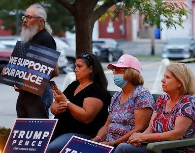 Attendees at the ceremony for the opening of the Slippery Rock Republican campaign headquarters. Seb Foltz/Butler Eagle 09/02/20