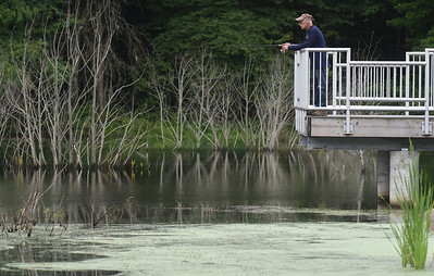 Harold Aughton/Butler Eagle: Vietnam veteran Jim Nabozny, a retired truck drive, has been fishing at Glade Run since 1958.