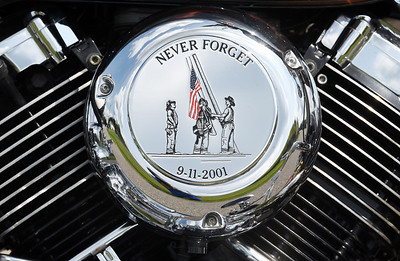 Harold Aughton/Butler Eagle: Karl Pool and his custom painted motorcylce honoring the memories of those that lost their lives in 911.