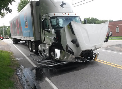 This tractor trailer was damaged in a collision with a car on Sarver Road in Buffalo Township Friday afternoon.