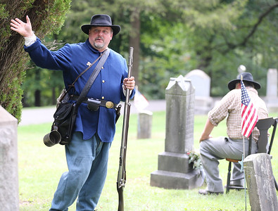 Chad Slater of Butler portrays Civil War soldier John McMasters at Saturday's Echoes From Our Past Historic Cemetary Walk at North Side Cemetery. Slater said his own ancestor, Archibald Slater, served in the same company. Seb Foltz/Butler Eagle 09/12/20