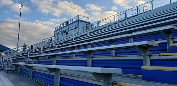 Few fans were in the stands at the Knoch High School football stadium for the first game Friday, Sept. 11, 2020.  The Knights played Highlands. During COVID-19 restrictions, attendance at outdoor events was limited to 250. Harold Aughton/butler eagle