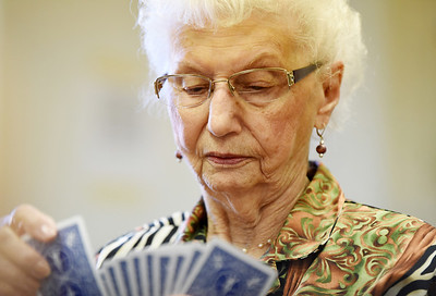 Mrs. Bachman has been playing cards at the Jefferson Grange for the past 73 years. Harold Aughton/Butler Eagle