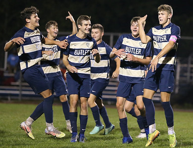 Butler celebrate's #10 goal at home over Seneca putting them up 2-0. Butler held on to win 2-1. Seb Foltz/Butler Eagle 09/24/20