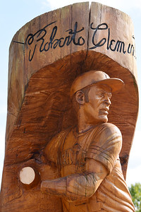 Vandals apparently cut off the hands and bat of a wooden statue of Pirates Roberto Clemente at Graham Park in Cranberry Twp. Harold Aughton/Butler Eagle