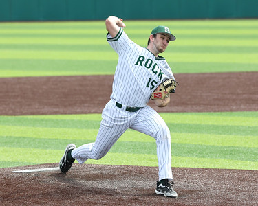 Slippery Rock University pitcher Ricky Mineo winds up to pitch against Cal U Saturday at home. Seb Foltz/Butler Eagle 03/27/21