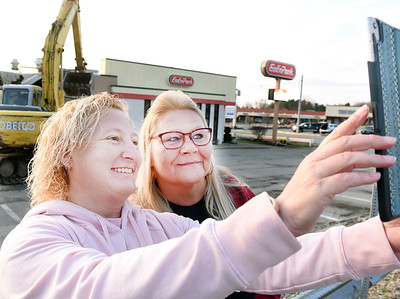 Barb Mohn of Butler, left, takes a selfie with her former co-worker, Missy Young of West Sunbury. Mohn, who is retired, worked as a sever for 27 years. Young has worked as server for the past 39 years. Harold Aughton/Butler Eagle.