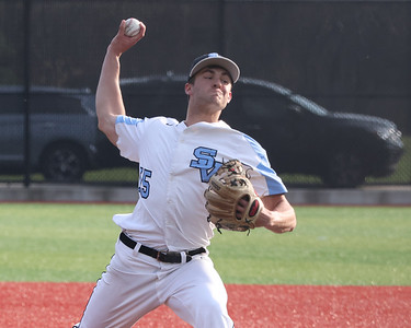 Seneca Valley pitcher Ethan Edkins throws a pitch against North Allegheny Tuesday at home. Seneca won 2-1 with Edkins scoring a walk-off run in the 7th. Seb Foltz/Butler Eagle 4/6/21