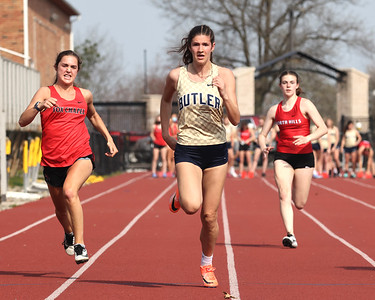 Butler's Ali Morrow pushes to the finish line to win the 100 meter in Thursdays home track meet against Fox Chapel and North Hills. Seb Foltz/Butler Eagle 04/08/21