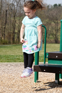 Madeleine Schnur, 3, of Butler spent Thursday morning playing on the playground at Harcrest Community Park with her grandparents Denise and Dave Schnur of Butler. April 8, 2021. Harold Aughton/Butler Eagle