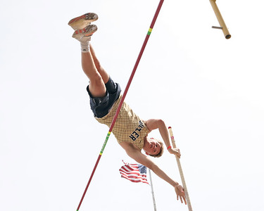 Butler's  Tristan McGarrah clears the pole vault bar during Saturday's Butler County Classic track meet. McGarrah won the event clearing 14 feet. Schools from across the county participated in the one day event. Seb Foltz/Butler Eagle 04/10/21