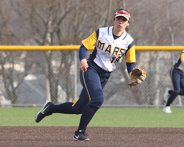 Mars shortstop Danielle Bednar chases down a groundball against Freeport. Bednar hit the game winning RBI to give the Planets a 9-8 win at home. Seb Foltz/Butler Eagle 04/07/21