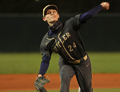 Butler relief pitcher James Desmond throws against Central Catholic Tuesday. Seb Foltz/Butler Eagle 04/13/21