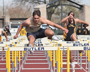 Butler's Byron Manchester clears one of the final hurdles on his way to win the 110 meter event against North Allegheny at home Wednesday. Seb Foltz/Butler Eagle 04/14/21