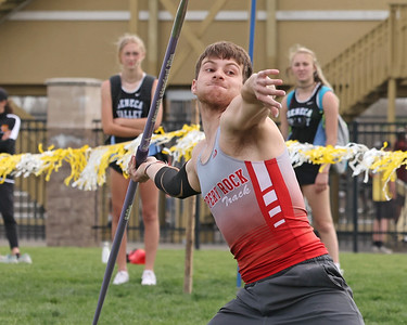 Slippery Rock's Josh Kingerski throws javelin in Saturday's Butler County Classic track meet. Kingerski won the event. Schools from across the county participated in the one day event. Seb Foltz/Butler Eagle 04/10/21 Seb Foltz/Butler Eagle 04/10/21