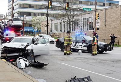 According to Butler City Police, one person was taken to the hospital with injuries after a sliver Dodge Magnum and a silver Hyundai Santa Fe collided at the intersection of Main and Wayne Streets in Butler shortly before noon.  City firefighters and police responded to the call. Harold Aughton/Butler Eagle