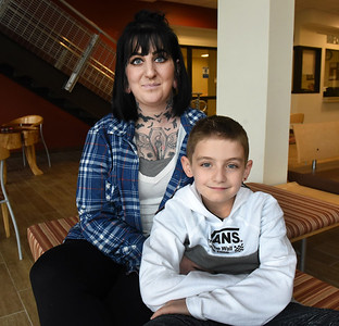 Student Alyssa Mainhart hangs out with her 8-year-old son, Gunner, at the Butler County Community College Student Success Center. Mainhart was recentlyawarded a $1,500 Soroptimist International scholarship. Harold Aughton/Butler Eagle.