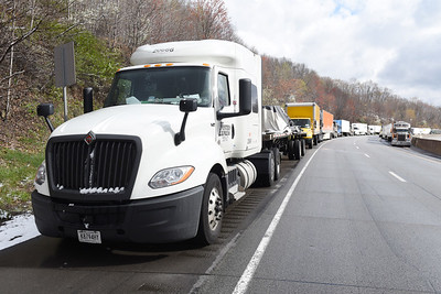 A wreck occurred on the I-80 Bridge near Emlenton shutting down East-bound traffic around 6 a.m. Thursday, April 22, 2021. Harold Aughton/Butler Eagle.