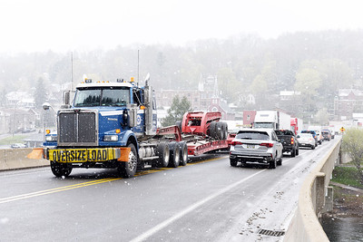 Interstate 80 east-bound traffic was detoured through Emlenton after a wreck occurred on the I-80 bridge around 6 a.m. Thursday, April 22, 2021. Harold Aughton/Butler Eagle.