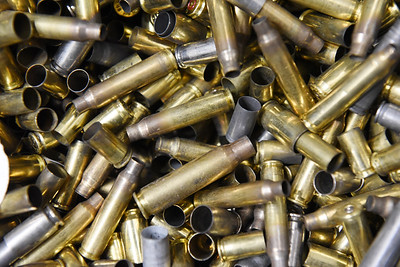 Thousands of spent shell casings lie in a troff in the shooting range at the Keystone Shooting Center. Harold Aughton/Butler Eagle