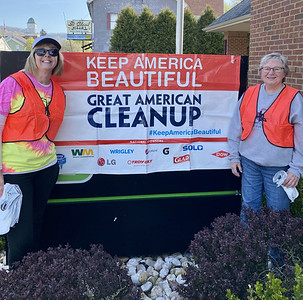 """""""Julie Griffiths and Peggy Wimer were among those who volunteered to clean up litter in East Brady Saturday as part of the annual Great American Cleanup of PA."""" Submitted photo."""