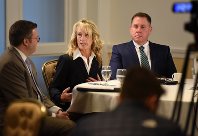 """Lisa Guard of Specialized Staffing discusses the challenges of recruiting employees for her clients during the Butler County Chamber of Commerce's roundtable discussion that addressed """"HR and Legal Impacts of COVID in the Workplace at the Butler Country Club Thursday. Harold Aughton/Butler Eagle."""