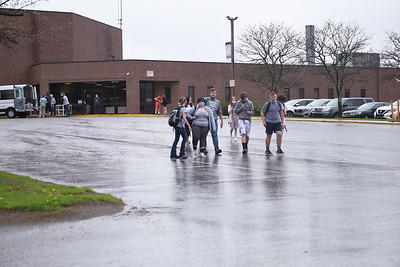 On cold and wet Thursday, April 29, 2021, at least 10 students walked out of Karns City High School as part of a protest against disciplinary action against a senior for his alleged role in a fight at Butler Vo-Tech. Included in the group that walked out were Karns City students; Zach Scherer, Zane Everetts, freshman, Zoe Everetts,Cayden Vodenichar, Ansley Hindman,  Hayden Miller, Abrianna Glosser, Angel Eppinger, and Adalyn Jones.    Photo by Lauryn Halahurich/Butler Eagle