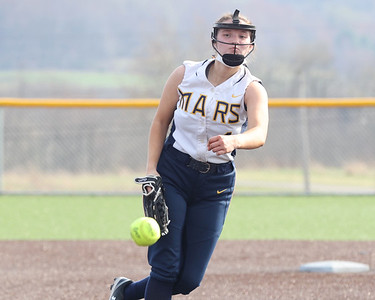 Mars' Kali Harris follows through on a pitch against Freeport Wednesday. The Planet's topped Freeport 9-8 with a walk-off run in the seventh inning. Seb Foltz/Butler Eagle 04/07/21
