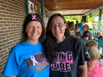 Meet New meeting Join a meeting Hangouts 20 of 114 Paula Slater, left, of Butler who was readying raffle tickets and Riding For The Cure co-founder Lynda Kerr of Summt Township got ready for the start of the event. ERIC FREEHLING/BUTLER EAGLE