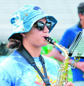 Dorothy Vogel, 16, of Seneca Valley, plays saxophone at band camp practice. Photo: Julia Maruca / Butler Eagle