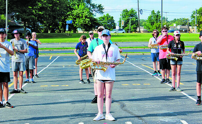 Mars student musicians learn formations during band camp for the Mars Area Marching Band. Photo: Julia Maruca / Butler Eagle