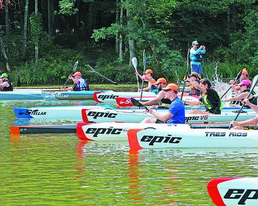Moraine State Park Regatta kayak race start. Seb Foltz/Butler Eagle 08/07/21