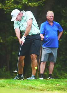 Mike Marron of Parker tees off on #2 during the Butler Eagle Amateur at the Slippery Rock Golf Course Sunday afternoon. Harold Aughton/Butler Eagle